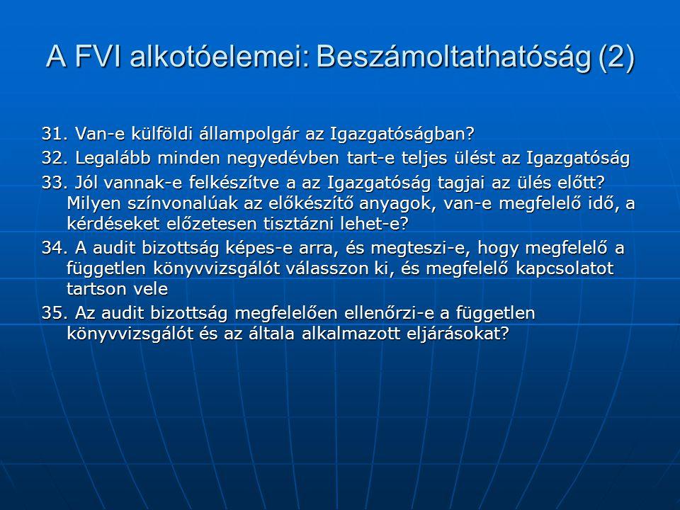 A FVI alkotóelemei: Beszámoltathatóság (2) 31. Van-e külföldi állampolgár az Igazgatóságban? 32. Legalább minden negyedévben tart-e teljes ülést az Ig