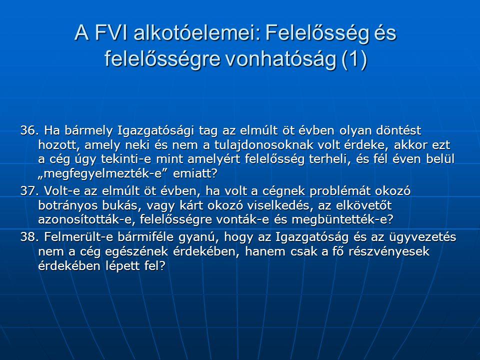 A FVI alkotóelemei: Felelősség és felelősségre vonhatóság (1) 36. Ha bármely Igazgatósági tag az elmúlt öt évben olyan döntést hozott, amely neki és n