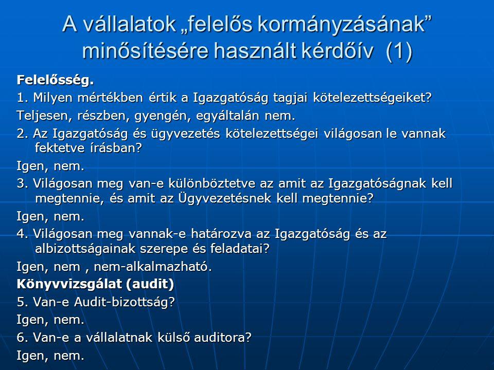 """A vállalatok """"felelős kormányzásának minősítésére használt kérdőív (1) Felelősség."""