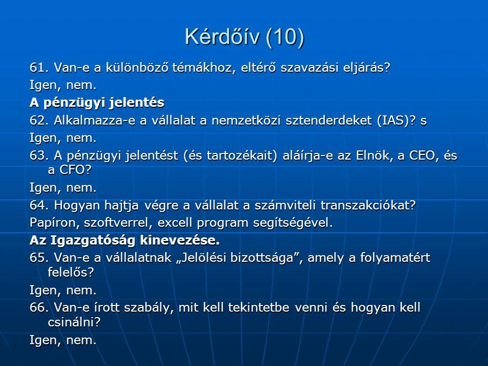 Kérdőív (10) 61. Van-e a különböző témákhoz, eltérő szavazási eljárás? Igen, nem. A pénzügyi jelentés 62. Alkalmazza-e a vállalat a nemzetközi sztende