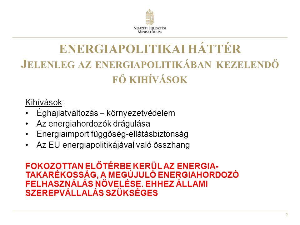 3 A Z ENERGIAPOLITIKÁT BEFOLYÁSOLÓ AKTUÁLIS EU IRÁNYELVEK, EGYÉB DOKUMENTUMOK ( AMELYEK A KLÍMAVÁLTOZÁS MÉRSÉKLÉSÉRE IRÁNYULNAK AZ ENERGIA - TAKARÉKOSSÁGON, A MEGÚJULÓ ENERGIAHORDOZÓ FELHASZNÁLÁSON KERESZTÜL ) •2006/32/EK irányelv az energiafelhasználás hatékonyságáról és az energetikai szolgáltatásokról •2007: új energiacsomag (3x20%) •2009 február 3-ai állásfoglalás •2009/28/EK megújuló energiahordozó irányelv •2010/31/EK irányelv az épületek energiahatékonyságáról •Európa 2020 Stratégia
