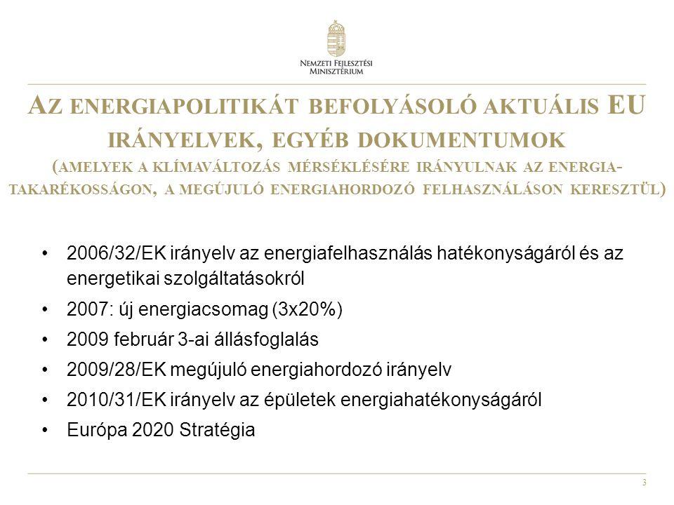 4 2006/32/EK IRÁNYELV AZ ENERGIAFELHASZNÁLÁS HATÉKONYSÁGÁRÓL ÉS AZ ENERGETIKAI SZOLGÁLTATÁSOKRÓL •CÉLOK: - 9 évig évi 1% energiatakarékosság (a nem ETS szektorra) - támogatási alap létrehozása - jól hozzáférhető pénzügyi és jogi keretrendszer kialakítása •FŐ CÉLCSOPORTOK: épületek, közlekedés, közületek •A közszektorra előírja, hogy az irányelvvel összefüggésben példamutatóan járjon el •Előírja, hogy a tagállamok biztosítsák, hogy hatékony, jó minőségű energia auditálási rendszerek álljanak rendelkezésre •Az irányelv által előírt nemzeti energiahatékonysági tervet a korábbi kormány (1076/2010.(III.31.) határozatával fogadta el