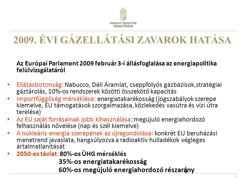 5 2009. ÉVI GÁZELLÁTÁSI ZAVAROK HATÁSA Az Európai Parlament 2009 február 3-i állásfoglalása az energiapolitika felülvizsgálatáról • Ellátásbiztonság: