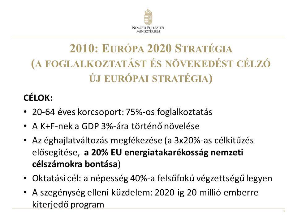 7 2010: E URÓPA 2020 S TRATÉGIA ( A FOGLALKOZTATÁST ÉS NÖVEKEDÉST CÉLZÓ ÚJ EURÓPAI STRATÉGIA ) CÉLOK: • 20-64 éves korcsoport: 75%-os foglalkoztatás •