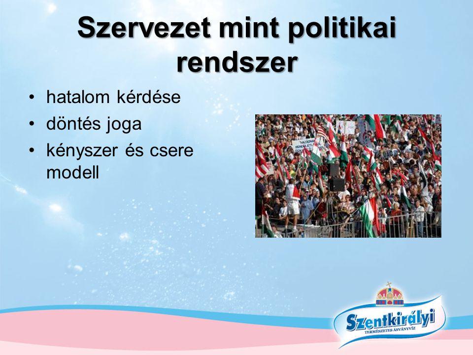 Szervezet mint politikai rendszer •hatalom kérdése •döntés joga •kényszer és csere modell