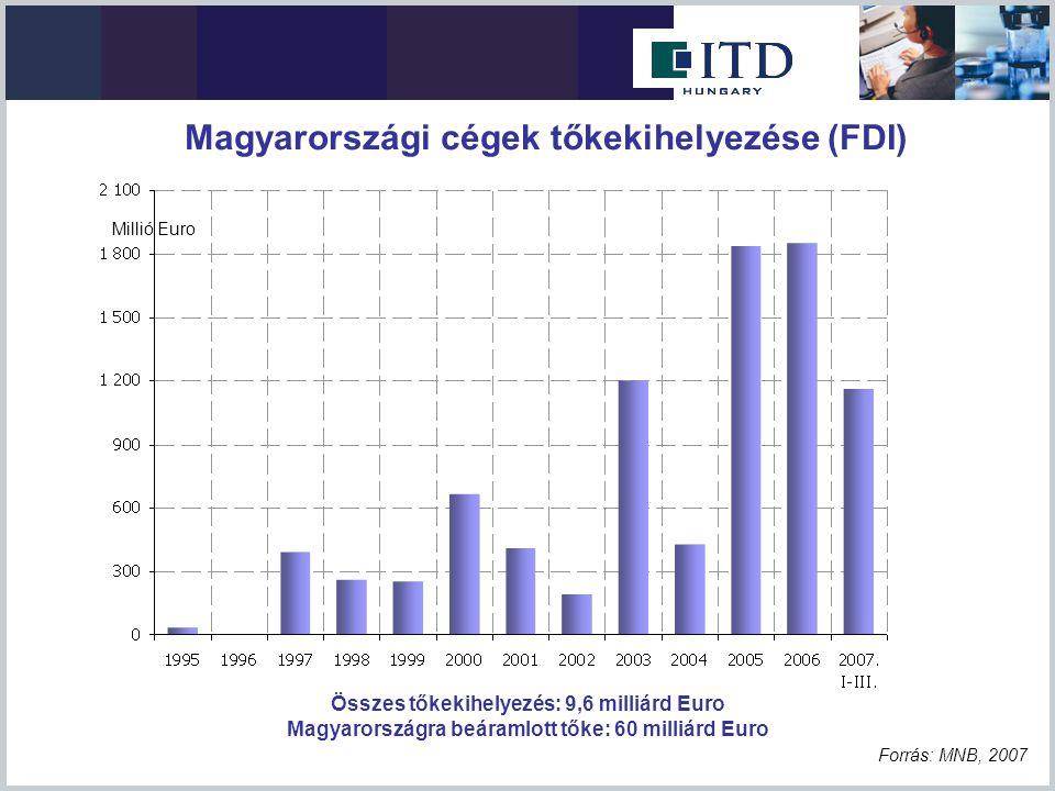 Összes tőkekihelyezés: 9,6 milliárd Euro Magyarországra beáramlott tőke: 60 milliárd Euro Forrás: MNB, 2007 Millió Euro Magyarországi cégek tőkekihely