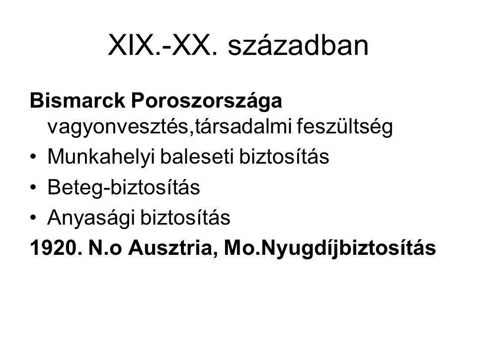 XIX.-XX. században Bismarck Poroszországa vagyonvesztés,társadalmi feszültség •Munkahelyi baleseti biztosítás •Beteg-biztosítás •Anyasági biztosítás 1