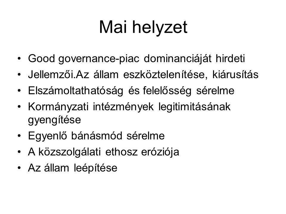 Mai helyzet •Good governance-piac dominanciáját hirdeti •Jellemzői.Az állam eszköztelenítése, kiárusítás •Elszámoltathatóság és felelősség sérelme •Ko