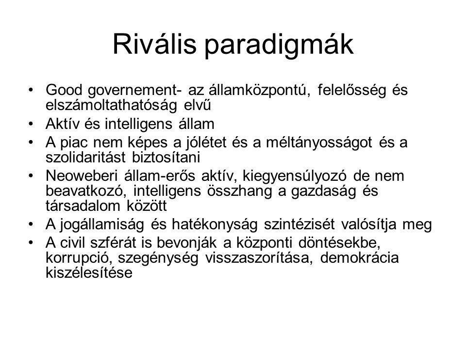 Rivális paradigmák •Good governement- az államközpontú, felelősség és elszámoltathatóság elvű •Aktív és intelligens állam •A piac nem képes a jólétet