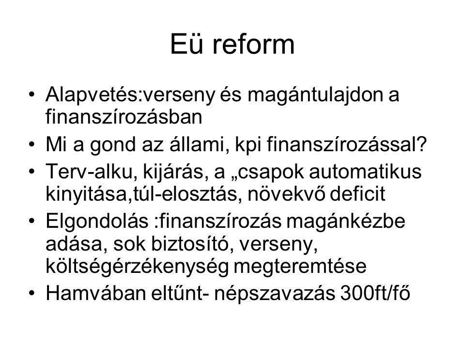 """Eü reform •Alapvetés:verseny és magántulajdon a finanszírozásban •Mi a gond az állami, kpi finanszírozással? •Terv-alku, kijárás, a """"csapok automatiku"""