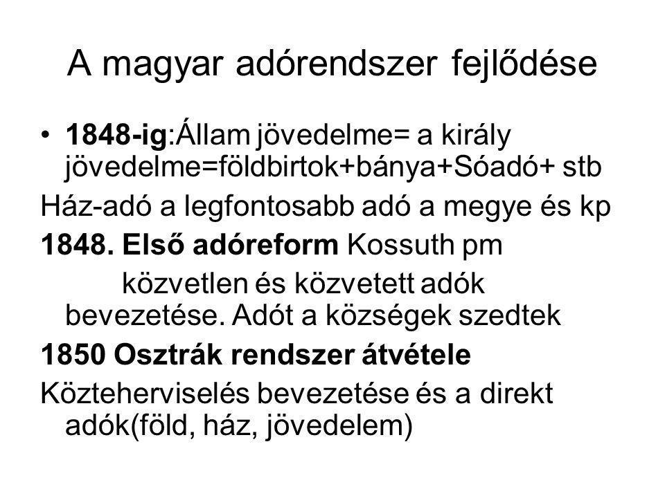 A magyar adórendszer fejlődése •1848-ig:Állam jövedelme= a király jövedelme=földbirtok+bánya+Sóadó+ stb Ház-adó a legfontosabb adó a megye és kp 1848.
