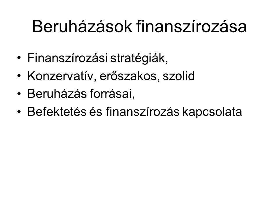 Beruházások finanszírozása •Finanszírozási stratégiák, •Konzervatív, erőszakos, szolid •Beruházás forrásai, •Befektetés és finanszírozás kapcsolata