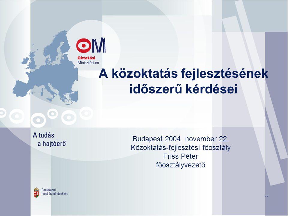 A közoktatás fejlesztésének időszerű kérdései Budapest 2004.