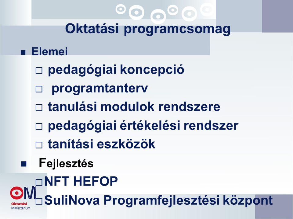 Oktatási programcsomag n Elemei  pedagógiai koncepció  programtanterv  tanulási modulok rendszere  pedagógiai értékelési rendszer  tanítási eszközök n F ejlesztés  NFT HEFOP  SuliNova Programfejlesztési központ