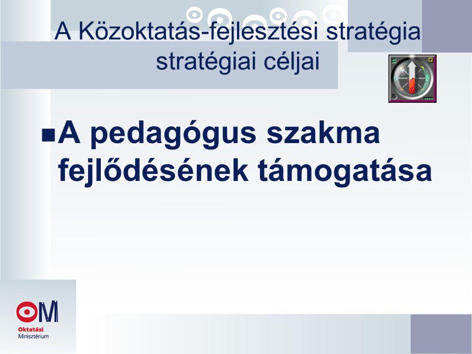 A Közoktatás-fejlesztési stratégia stratégiai céljai n A pedagógus szakma fejlődésének támogatása