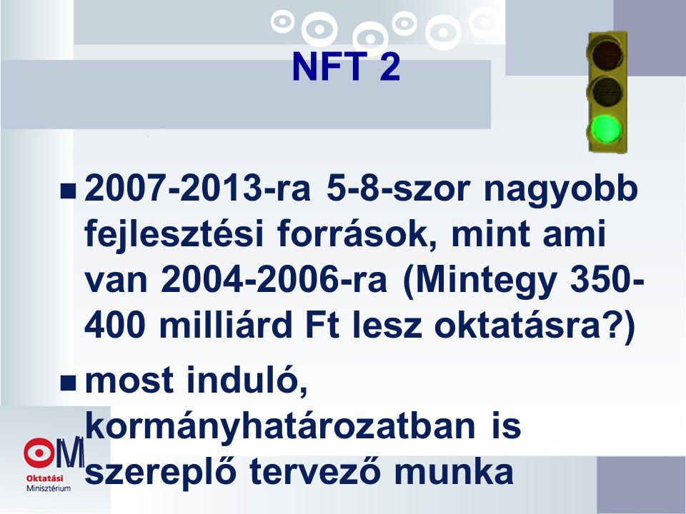 NFT 2 n 2007-2013-ra 5-8-szor nagyobb fejlesztési források, mint ami van 2004-2006-ra (Mintegy 350- 400 milliárd Ft lesz oktatásra ) n most induló, kormányhatározatban is szereplő tervező munka