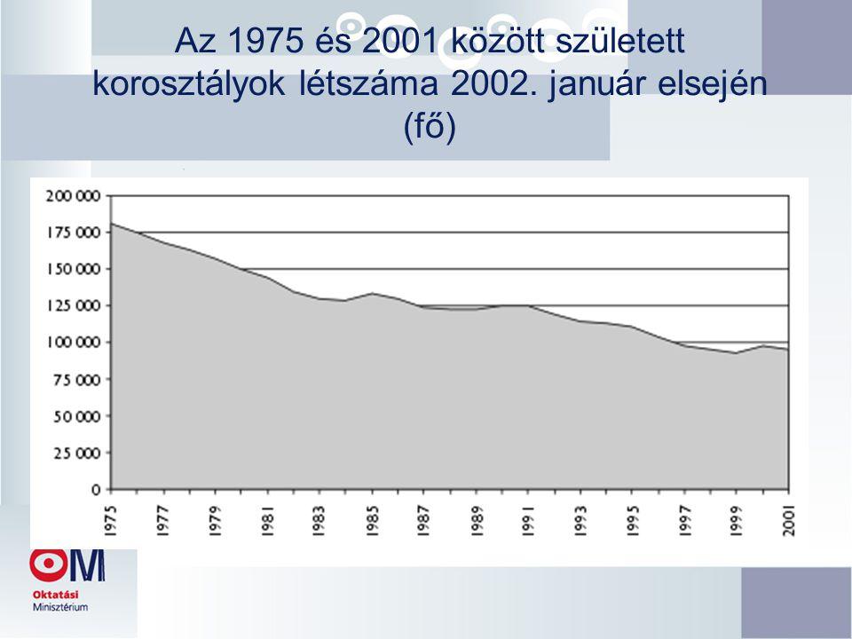 Az 1975 és 2001 között született korosztályok létszáma 2002. január elsején (fő)