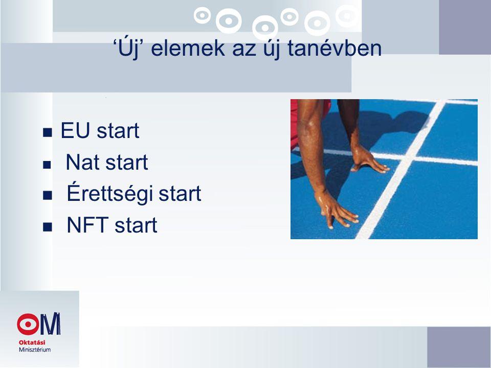'Új' elemek az új tanévben n EU start n Nat start n Érettségi start n NFT start