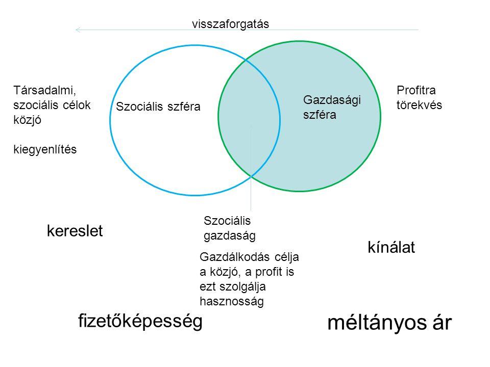 Szociális szféra Gazdasági szféra Szociális gazdaság Társadalmi, szociális célok közjó kiegyenlítés Profitra törekvés visszaforgatás kínálat kereslet