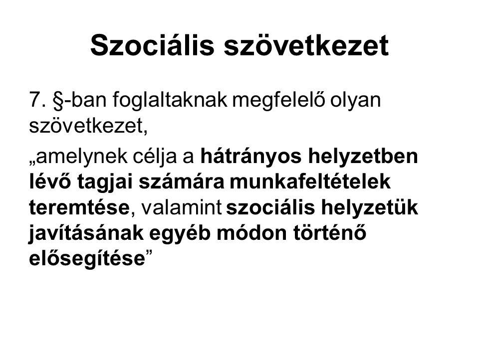 """Szociális szövetkezet 7. §-ban foglaltaknak megfelelő olyan szövetkezet, """"amelynek célja a hátrányos helyzetben lévő tagjai számára munkafeltételek te"""