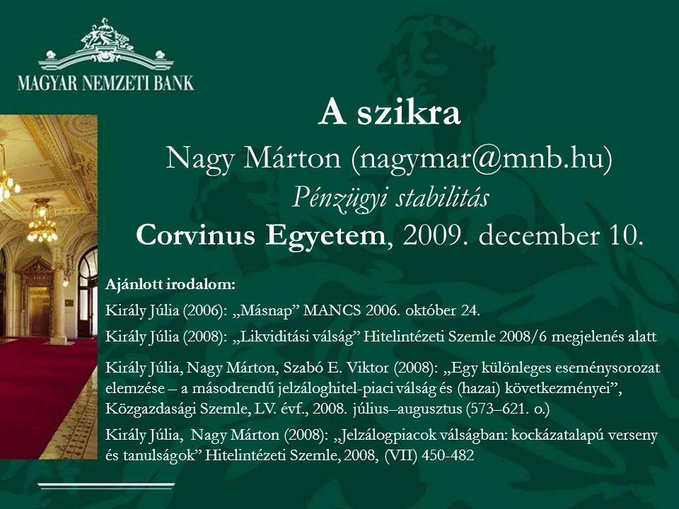 """A szikra Nagy Márton (nagymar@mnb.hu) Pénzügyi stabilitás Corvinus Egyetem, 2009. december 10. Ajánlott irodalom: Király Júlia (2006): """"Másnap"""" MANCS"""