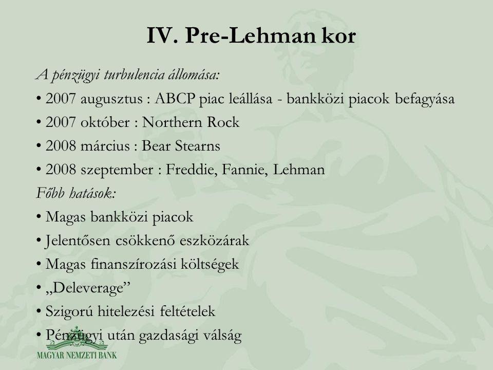 IV. Pre-Lehman kor A pénzügyi turbulencia állomása: • 2007 augusztus : ABCP piac leállása - bankközi piacok befagyása • 2007 október : Northern Rock •