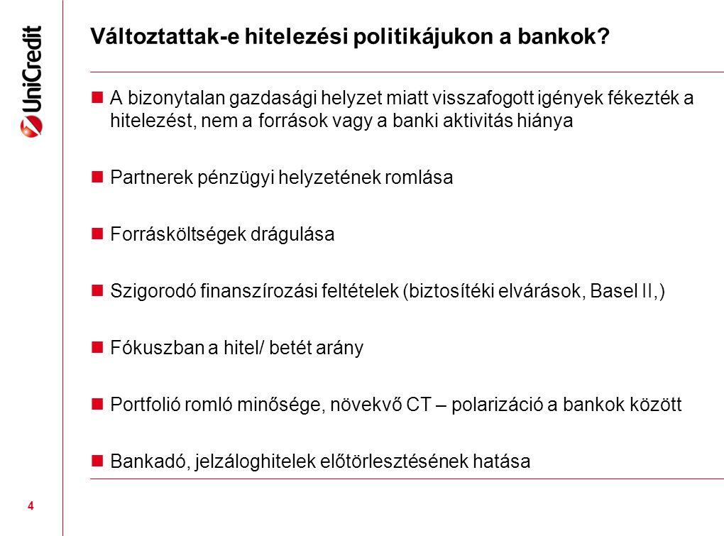 Változtattak-e hitelezési politikájukon a bankok?  A bizonytalan gazdasági helyzet miatt visszafogott igények fékezték a hitelezést, nem a források v