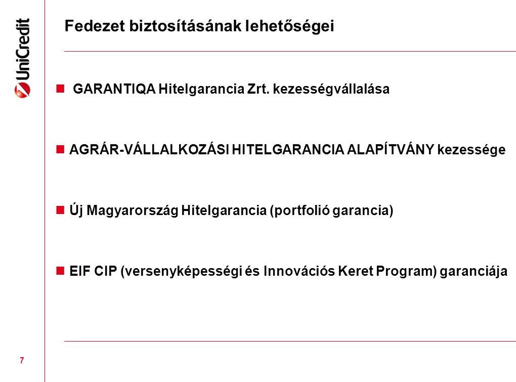 Fedezet biztosításának lehetőségei  GARANTIQA Hitelgarancia Zrt. kezességvállalása  AGRÁR-VÁLLALKOZÁSI HITELGARANCIA ALAPÍTVÁNY kezessége  Új Magya
