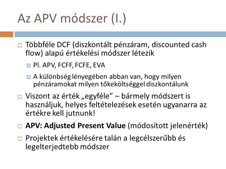 Az APV módszer (I.)  Többféle DCF (diszkontált pénzáram, discounted cash flow) alapú értékelési módszer létezik  Pl.