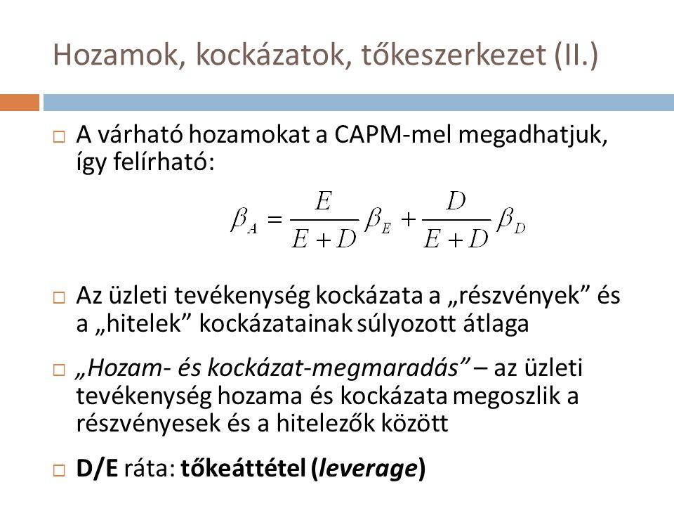 Érzékenységvizsgálat (I.)  Egyetlen változónak sok lehetséges értékét tekintjük (az összes többi változó rögzítettsége mellett)
