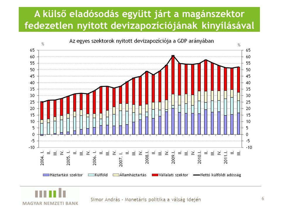 A bankok hitelezési hajlandósága tartósan alacsony maradhat Simor András - Monetáris politika a válság idején 37
