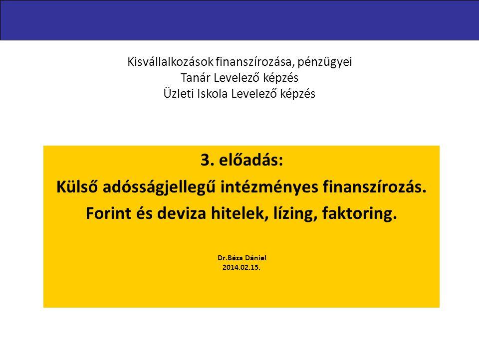 3. előadás: Külső adósságjellegű intézményes finanszírozás. Forint és deviza hitelek, lízing, faktoring. Dr.Béza Dániel 2014.02.15. Kisvállalkozások f