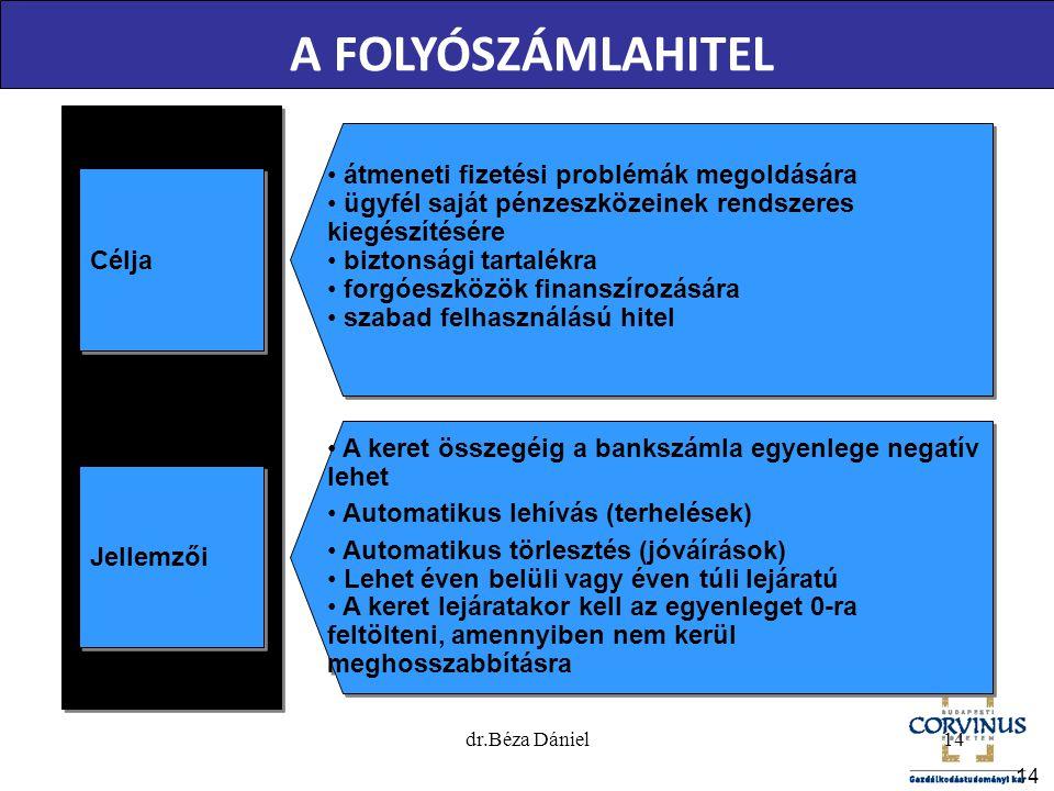 14 A FOLYÓSZÁMLAHITEL Jellemzői • A keret összegéig a bankszámla egyenlege negatív lehet • Automatikus lehívás (terhelések) • Automatikus törlesztés (