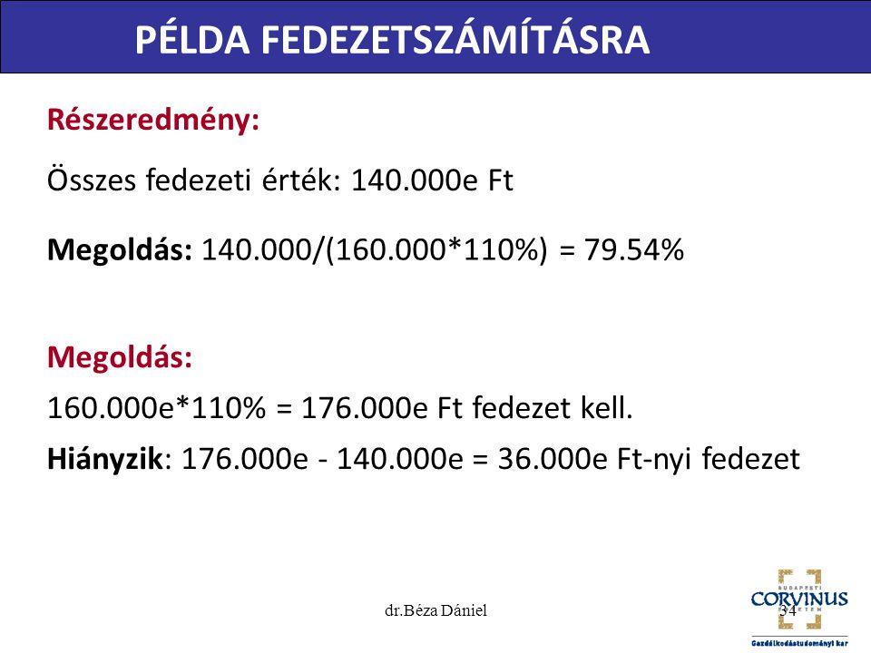 dr.Béza Dániel34 PÉLDA FEDEZETSZÁMÍTÁSRA Megoldás: 160.000e*110% = 176.000e Ft fedezet kell. Hiányzik: 176.000e - 140.000e = 36.000e Ft-nyi fedezet Ré