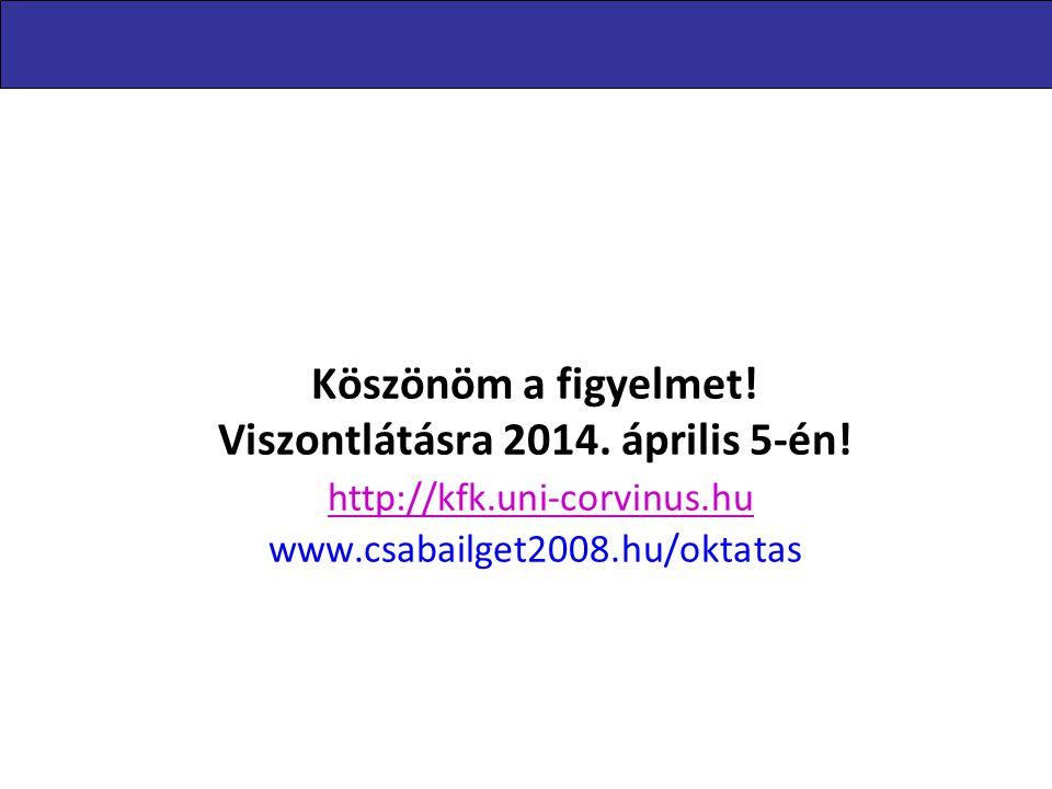Köszönöm a figyelmet! Viszontlátásra 2014. április 5-én! http://kfk.uni-corvinus.hu www.csabailget2008.hu/oktatas http://kfk.uni-corvinus.hu