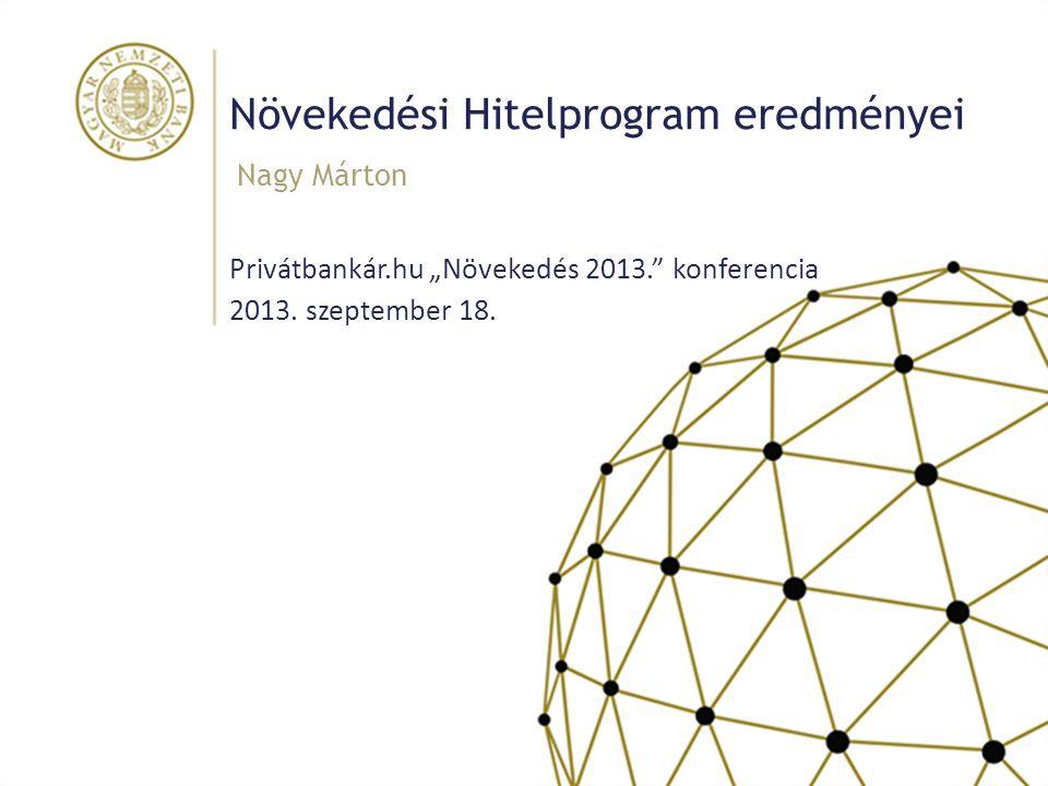 """Növekedési Hitelprogram eredményei Privátbankár.hu """"Növekedés 2013."""" konferencia 2013. szeptember 18. Nagy Márton"""