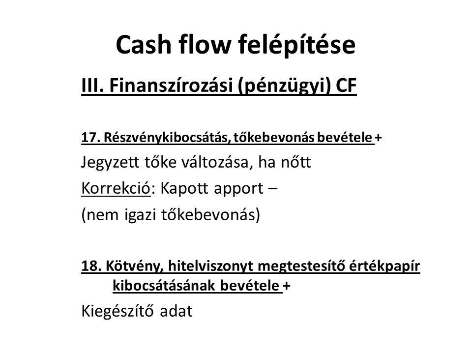 III. Finanszírozási (pénzügyi) CF 17. Részvénykibocsátás, tőkebevonás bevétele + Jegyzett tőke változása, ha nőtt Korrekció: Kapott apport – (nem igaz