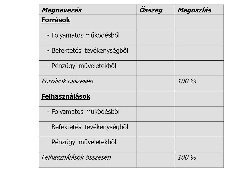 MegnevezésÖsszegMegoszlás Források - Folyamatos működésből - Befektetési tevékenységből - Pénzügyi műveletekből Források összesen100 % Felhasználások