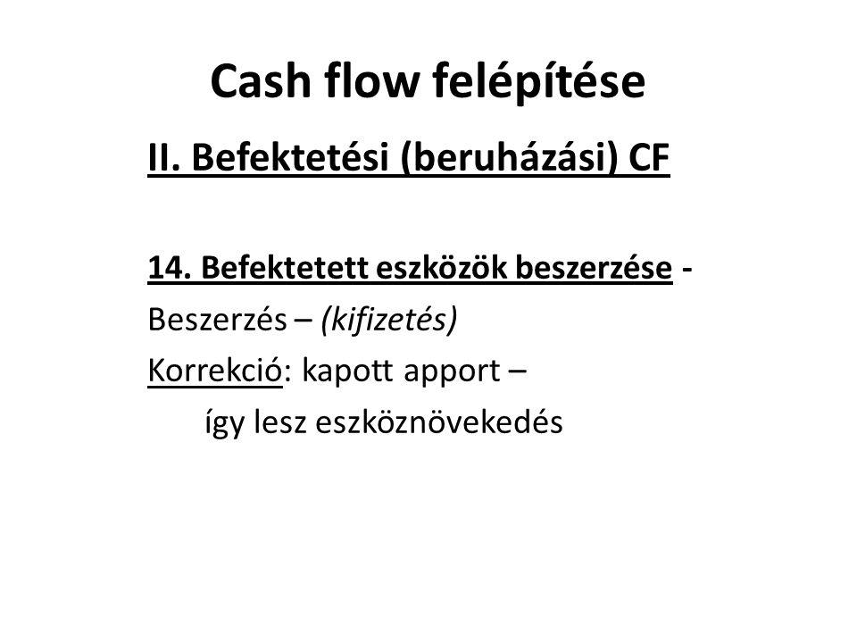 II. Befektetési (beruházási) CF 14. Befektetett eszközök beszerzése - Beszerzés – (kifizetés) Korrekció: kapott apport – így lesz eszköznövekedés Cash