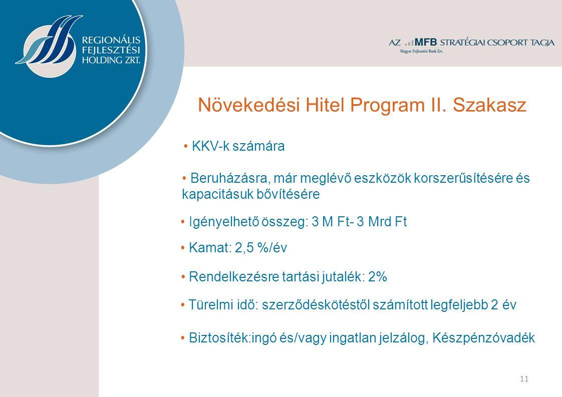 • KKV-k számára • Kamat: 2,5 %/év • Igényelhető összeg: 3 M Ft- 3 Mrd Ft 11 • Beruházásra, már meglévő eszközök korszerűsítésére és kapacitásuk bővítésére • Rendelkezésre tartási jutalék: 2% • Türelmi idő: szerződéskötéstől számított legfeljebb 2 év Növekedési Hitel Program II.