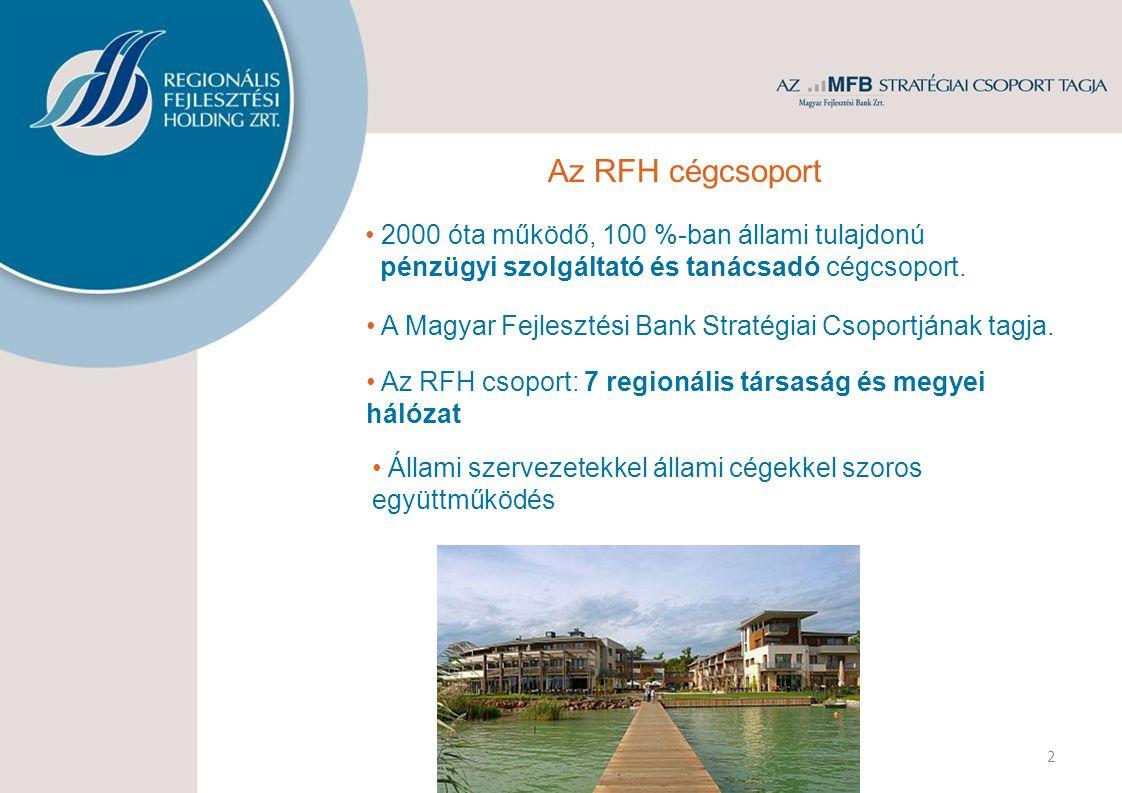 2 Az RFH cégcsoport • Az RFH csoport: 7 regionális társaság és megyei hálózat • 2000 óta működő, 100 %-ban állami tulajdonú pénzügyi szolgáltató és tanácsadó cégcsoport.