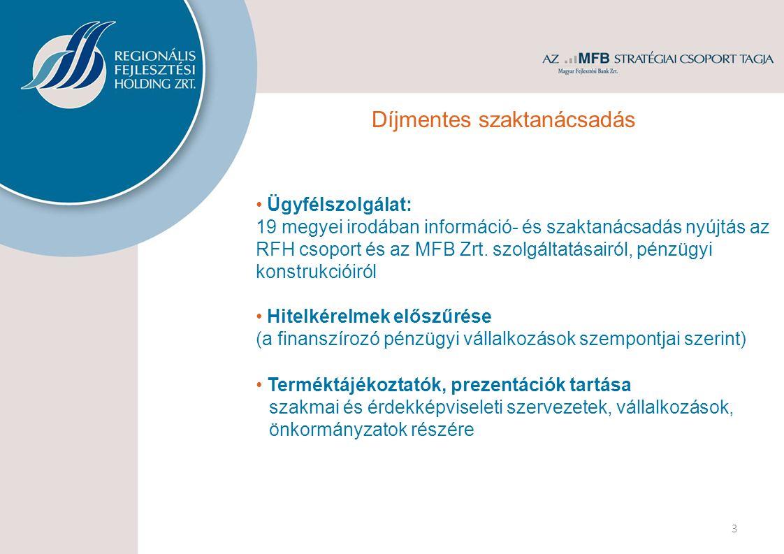 • Ügyfélszolgálat: 19 megyei irodában információ- és szaktanácsadás nyújtás az RFH csoport és az MFB Zrt.