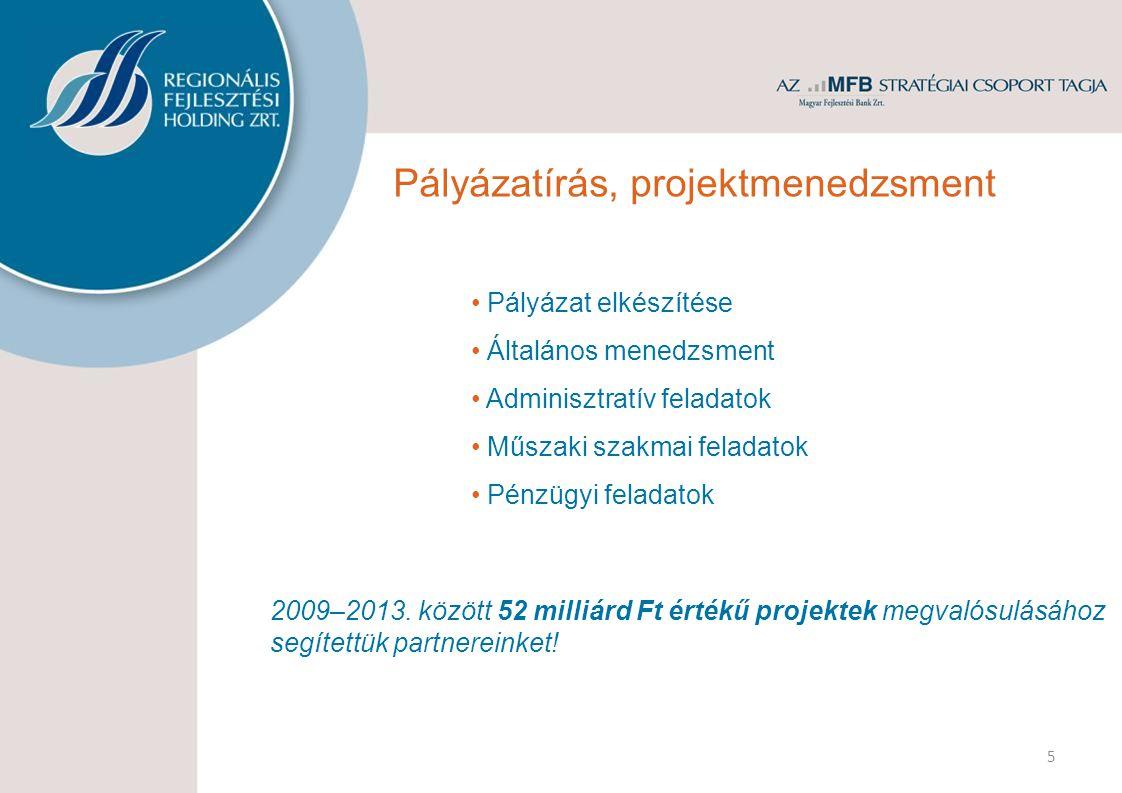 5 Pályázatírás, projektmenedzsment • Pályázat elkészítése • Általános menedzsment • Adminisztratív feladatok • Műszaki szakmai feladatok • Pénzügyi feladatok 2009–2013.