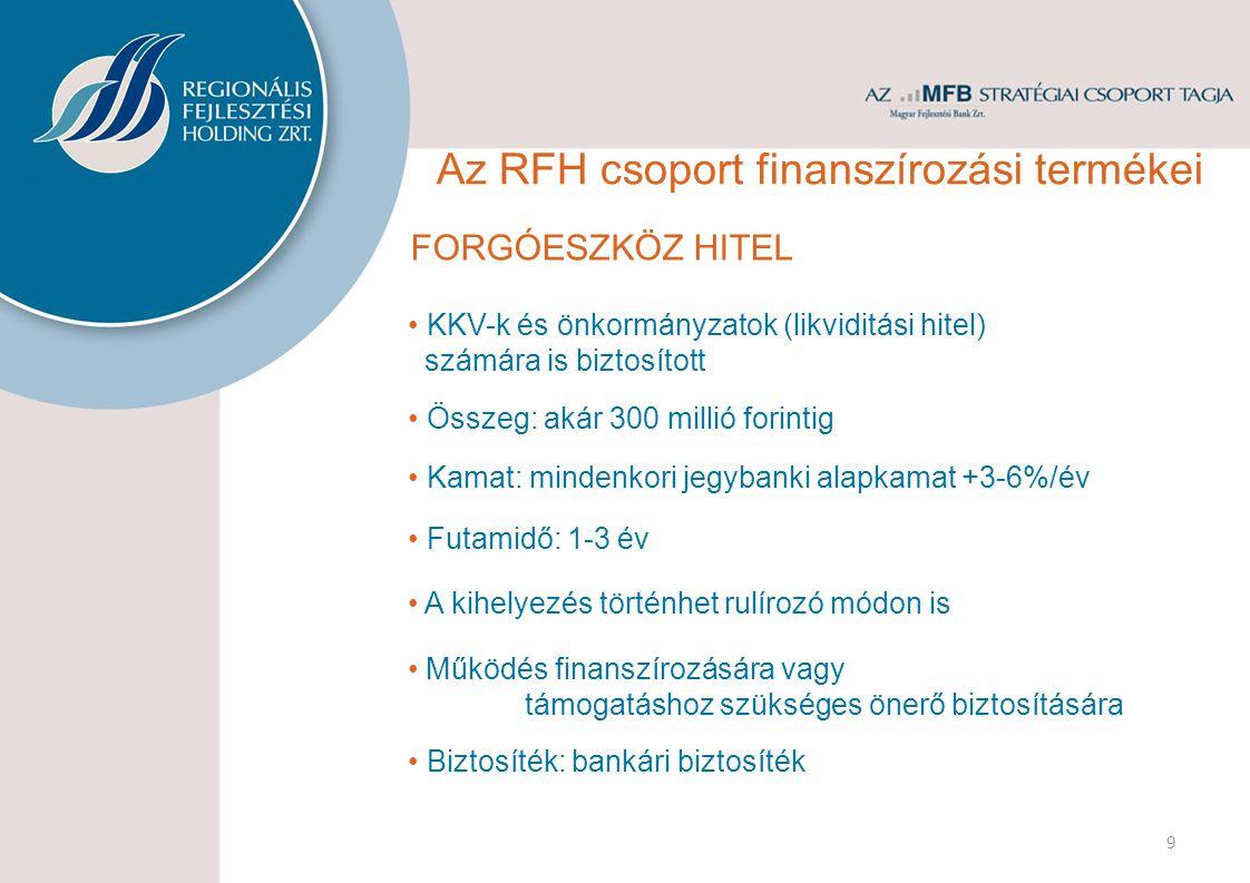 FORGÓESZKÖZ HITEL • KKV-k és önkormányzatok (likviditási hitel) számára is biztosított • Kamat: mindenkori jegybanki alapkamat +3-6%/év • Futamidő: 1-3 év • Összeg: akár 300 millió forintig 9 • A kihelyezés történhet rulírozó módon is • Működés finanszírozására vagy támogatáshoz szükséges önerő biztosítására • Biztosíték: bankári biztosíték Az RFH csoport finanszírozási termékei