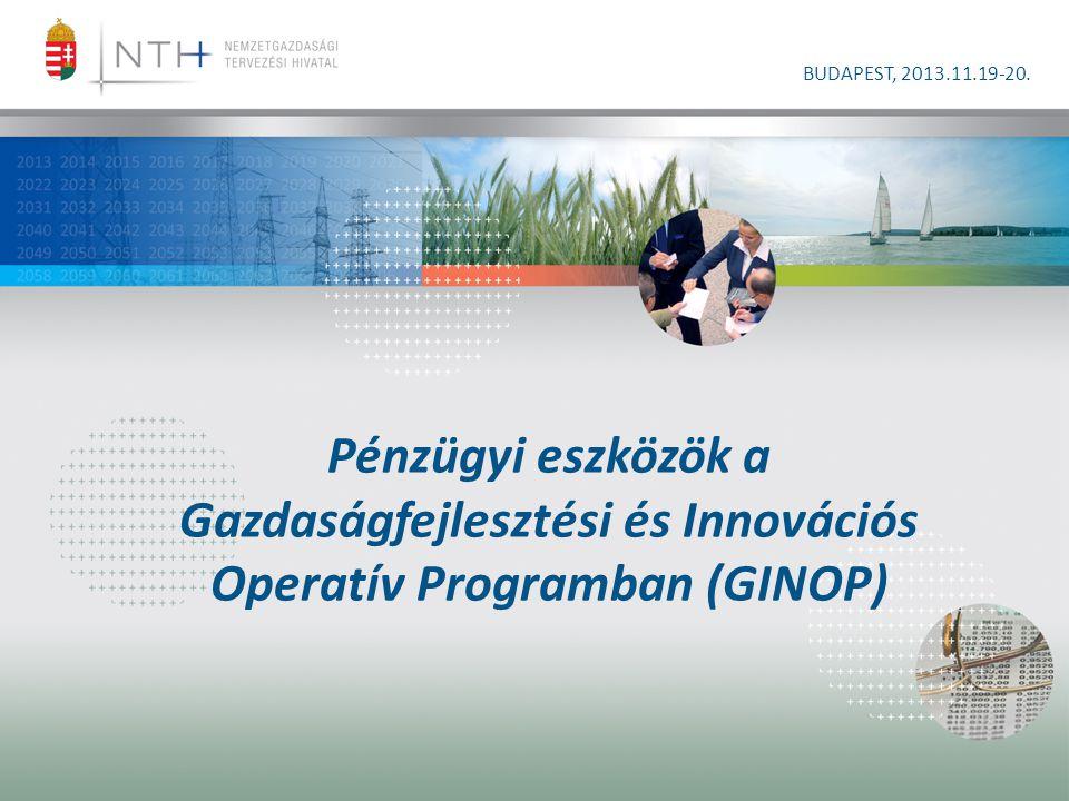 Pénzügyi eszközök a Gazdaságfejlesztési és Innovációs Operatív Programban (GINOP) BUDAPEST, 2013.11.19-20.