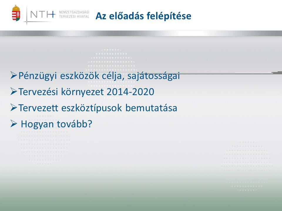  Pénzügyi eszközök célja, sajátosságai  Tervezési környezet 2014-2020  Tervezett eszköztípusok bemutatása  Hogyan tovább? Az előadás felépítése