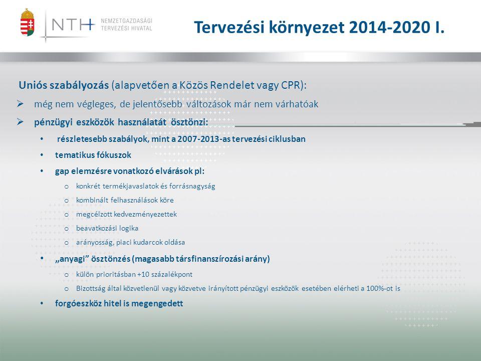 Tervezési környezet 2014-2020 I. Uniós szabályozás (alapvetően a Közös Rendelet vagy CPR):  még nem végleges, de jelentősebb változások már nem várha