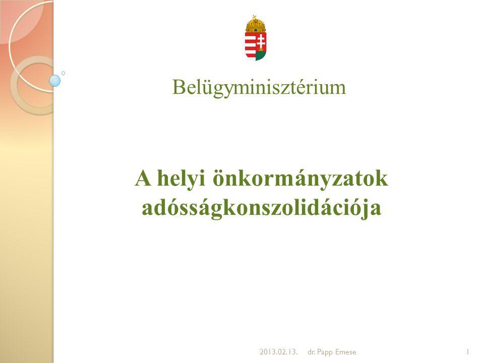 Belügyminisztérium A helyi önkormányzatok adósságkonszolidációja 12013.02.13.dr. Papp Emese