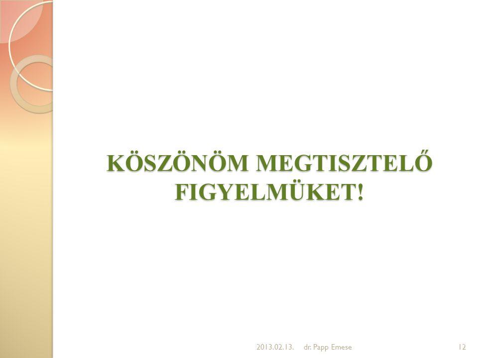 KÖSZÖNÖM MEGTISZTELŐ FIGYELMÜKET! 122013.02.13.dr. Papp Emese