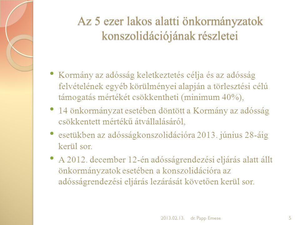 Az 5 ezer lakos alatti önkormányzatok konszolidációjának részletei • Kormány az adósság keletkeztetés célja és az adósság felvételének egyéb körülmény